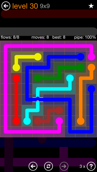 Solution and Answer to the Puzzle for Flow Bridges Pack Set 9x9 Level 30