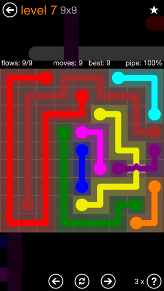 Solution and Answer to the Puzzle for Flow Bridges Pack Set 9x9 Level 7
