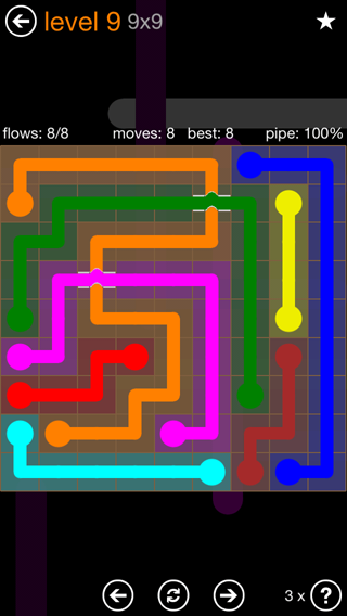 Solution and Answer to the Puzzle for Flow Bridges Pack Set 9x9 Level 9