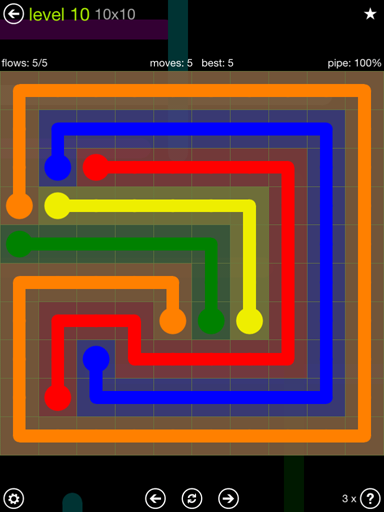 Solution and Answer to the Puzzle for Flow Extreme Pack Set 10x10 Level 10