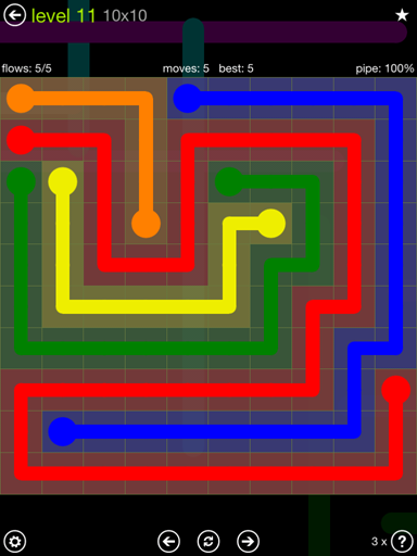 Solution and Answer to the Puzzle for Flow Extreme Pack Set 10x10 Level 11