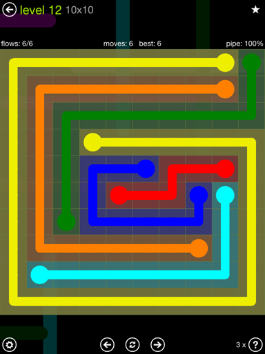 Solution and Answer to the Puzzle for Flow Extreme Pack Set 10x10 Level 12