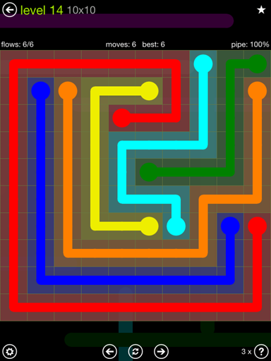 Solution and Answer to the Puzzle for Flow Extreme Pack Set 10x10 Level 14