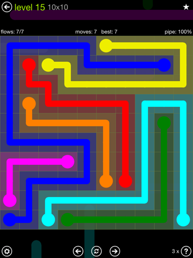 Solution and Answer to the Puzzle for Flow Extreme Pack Set 10x10 Level 15