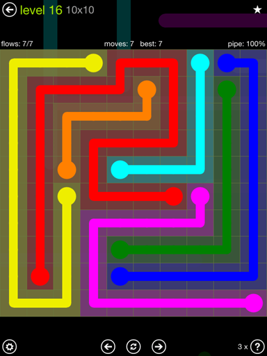 Solution and Answer to the Puzzle for Flow Extreme Pack Set 10x10 Level 16