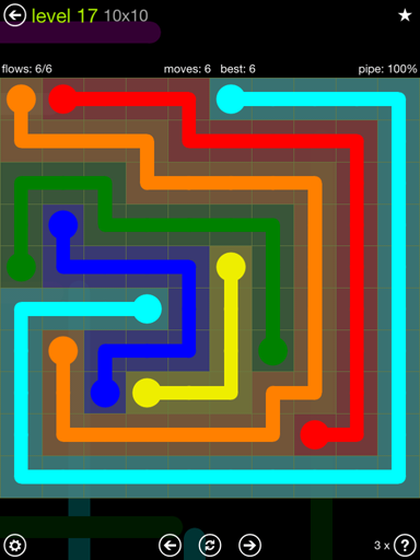Solution and Answer to the Puzzle for Flow Extreme Pack Set 10x10 Level 17
