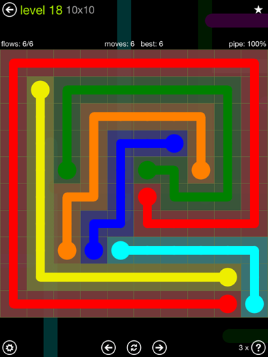 Solution and Answer to the Puzzle for Flow Extreme Pack Set 10x10 Level 18