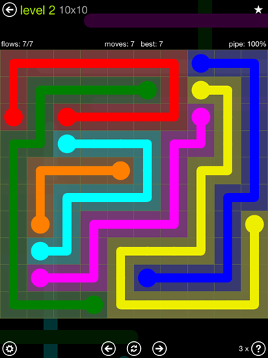 Solution and Answer to the Puzzle for Flow Extreme Pack Set 10x10 Level 2