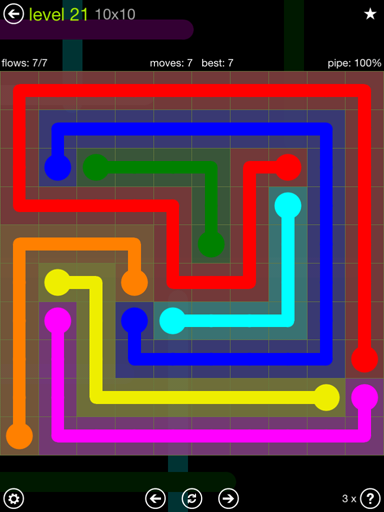 Solution and Answer to the Puzzle for Flow Extreme Pack Set 10x10 Level 21