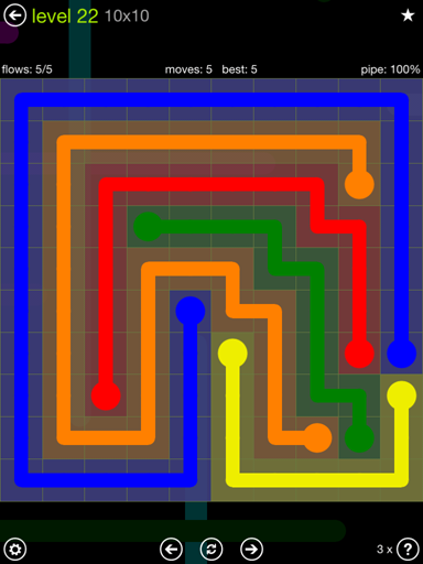 Solution and Answer to the Puzzle for Flow Extreme Pack Set 10x10 Level 22