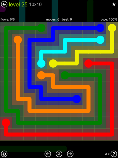 Solution and Answer to the Puzzle for Flow Extreme Pack Set 10x10 Level 25