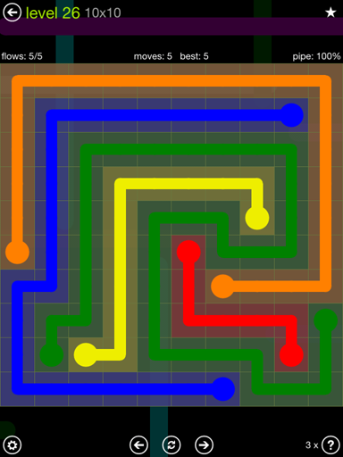 Solution and Answer to the Puzzle for Flow Extreme Pack Set 10x10 Level 26