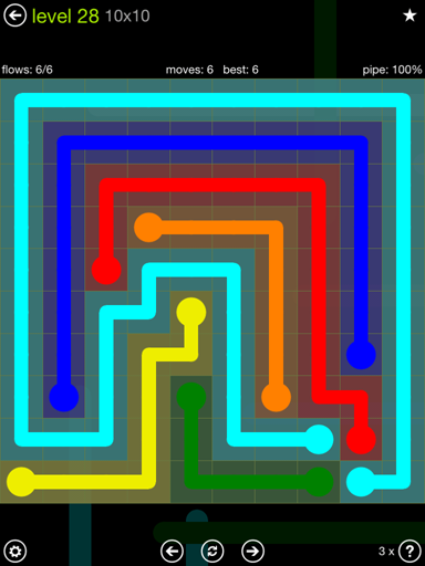 Solution and Answer to the Puzzle for Flow Extreme Pack Set 10x10 Level 28