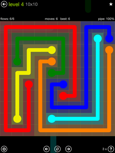 Solution and Answer to the Puzzle for Flow Extreme Pack Set 10x10 Level 4