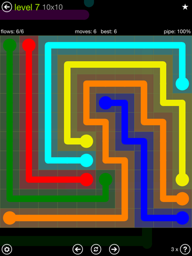 Solution and Answer to the Puzzle for Flow Extreme Pack Set 10x10 Level 7