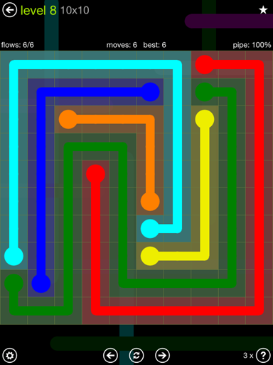 Solution and Answer to the Puzzle for Flow Extreme Pack Set 10x10 Level 8