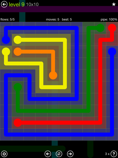Solution and Answer to the Puzzle for Flow Extreme Pack Set 10x10 Level 9