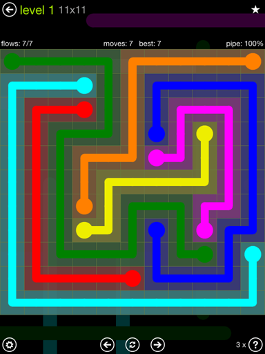 Solution and Answer to the Puzzle for Flow Extreme Pack Set 11x11 Level 1