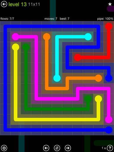 Solution and Answer to the Puzzle for Flow Extreme Pack Set 11x11 Level 13