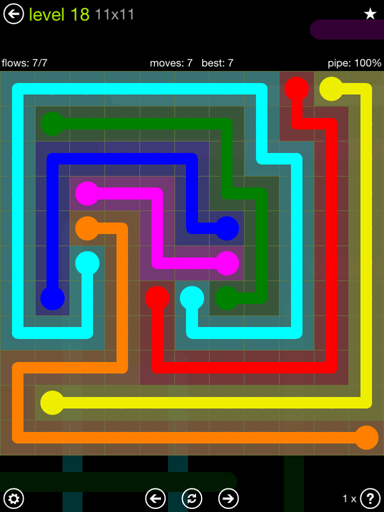 Solution and Answer to the Puzzle for Flow Extreme Pack Set 11x11 Level 18
