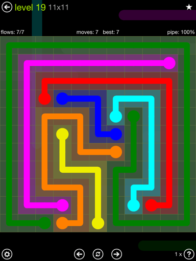 Solution and Answer to the Puzzle for Flow Extreme Pack Set 11x11 Level 19