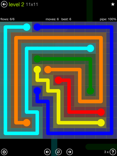 Solution and Answer to the Puzzle for Flow Extreme Pack Set 11x11 Level 2