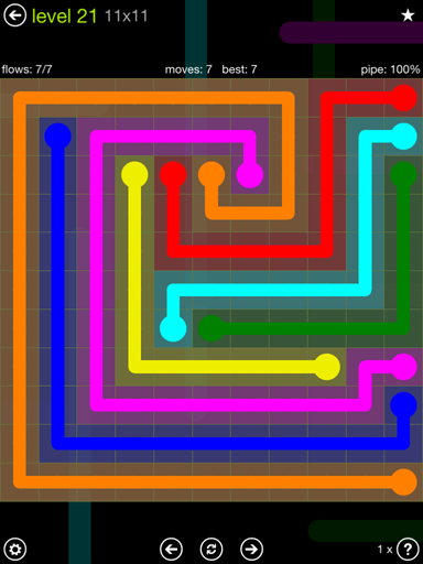 Solution and Answer to the Puzzle for Flow Extreme Pack Set 11x11 Level 21