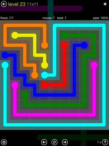 Solution and Answer to the Puzzle for Flow Extreme Pack Set 11x11 Level 23