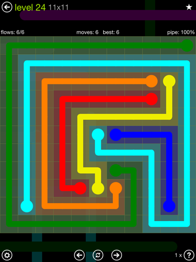 Solution and Answer to the Puzzle for Flow Extreme Pack Set 11x11 Level 24