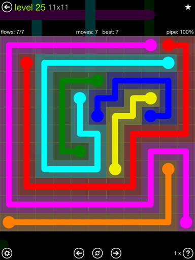 Solution and Answer to the Puzzle for Flow Extreme Pack Set 11x11 Level 25