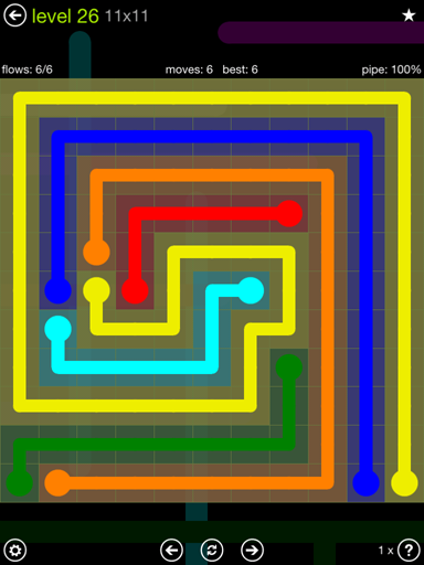 Solution and Answer to the Puzzle for Flow Extreme Pack Set 11x11 Level 26