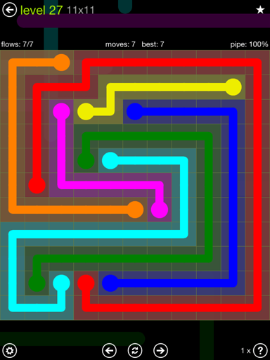 Solution and Answer to the Puzzle for Flow Extreme Pack Set 11x11 Level 27