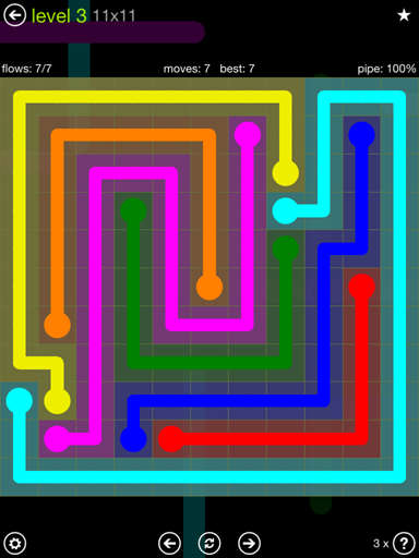 Solution and Answer to the Puzzle for Flow Extreme Pack Set 11x11 Level 3