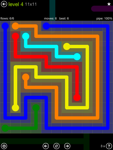 Solution and Answer to the Puzzle for Flow Extreme Pack Set 11x11 Level 4