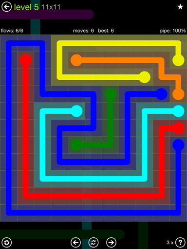 Solution and Answer to the Puzzle for Flow Extreme Pack Set 11x11 Level 5