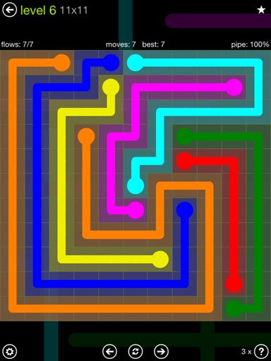 Solution and Answer to the Puzzle for Flow Extreme Pack Set 11x11 Level 6