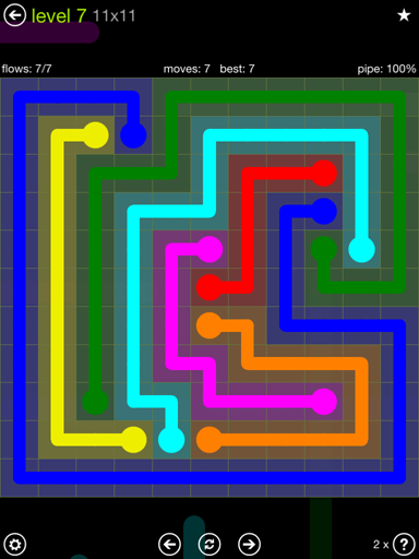 Solution and Answer to the Puzzle for Flow Extreme Pack Set 11x11 Level 7