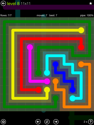 Solution and Answer to the Puzzle for Flow Extreme Pack Set 11x11 Level 8