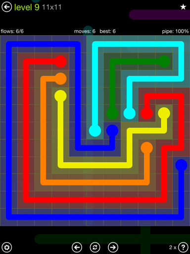 Solution and Answer to the Puzzle for Flow Extreme Pack Set 11x11 Level 9