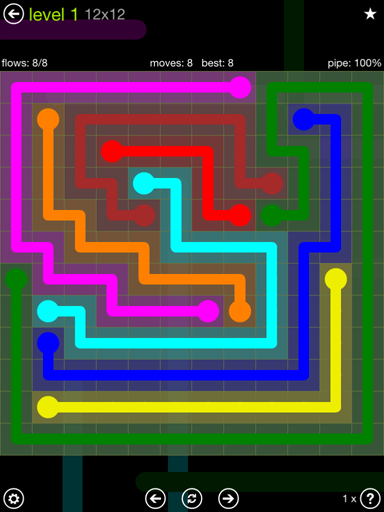 Solution and Answer to the Puzzle for Flow Extreme Pack Set 12x12 Level 1