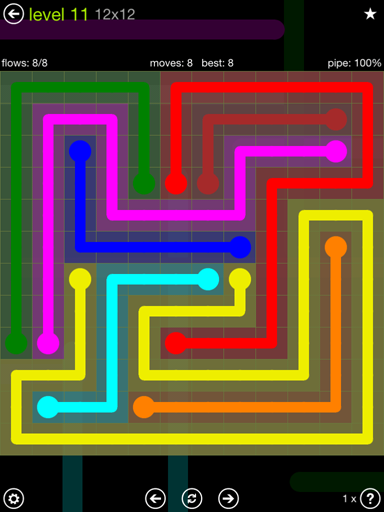 Solution and Answer to the Puzzle for Flow Extreme Pack Set 12x12 Level 11