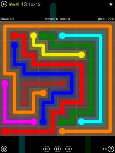 Solution and Answer to the Puzzle for Flow Extreme Pack Set 12x12 Level 13