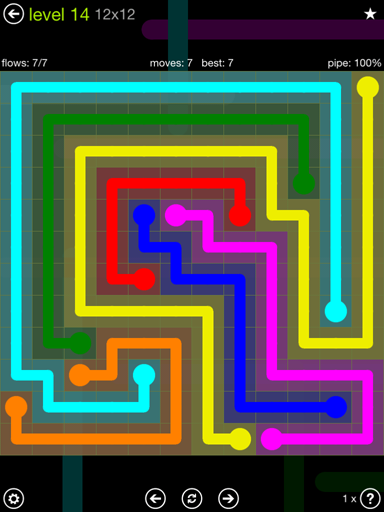 Solution and Answer to the Puzzle for Flow Extreme Pack Set 12x12 Level 14