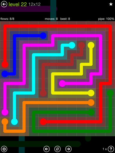 Solution and Answer to the Puzzle for Flow Extreme Pack Set 12x12 Level 22