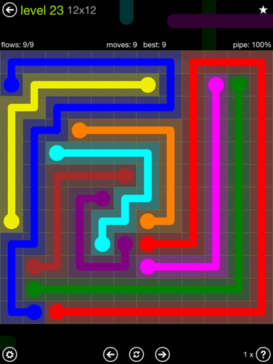 Solution and Answer to the Puzzle for Flow Extreme Pack Set 12x12 Level 23