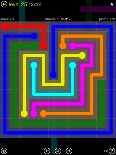 Solution and Answer to the Puzzle for Flow Extreme Pack Set 12x12 Level 25