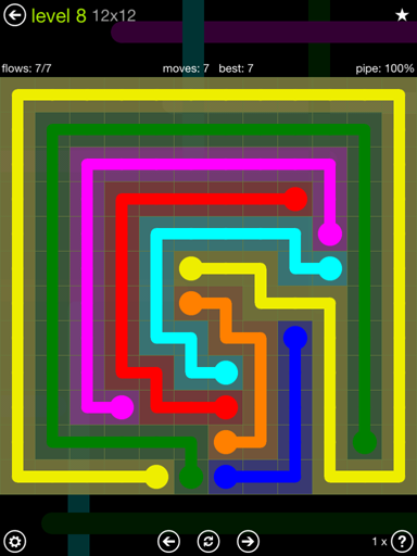 Solution and Answer to the Puzzle for Flow Extreme Pack Set 12x12 Level 8
