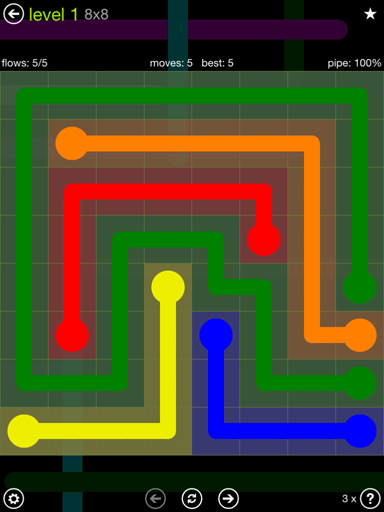Solution and Answer to the Puzzle for Flow Extreme Pack Set 8x8 Level 1