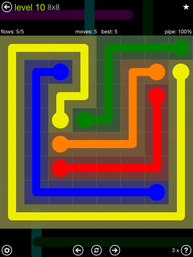 Solution and Answer to the Puzzle for Flow Extreme Pack Set 8x8 Level 10