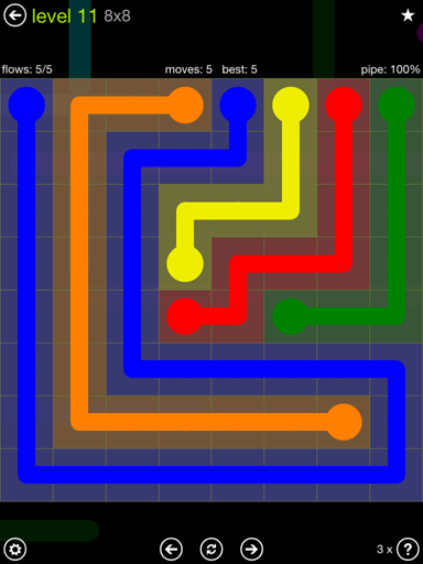Solution and Answer to the Puzzle for Flow Extreme Pack Set 8x8 Level 11